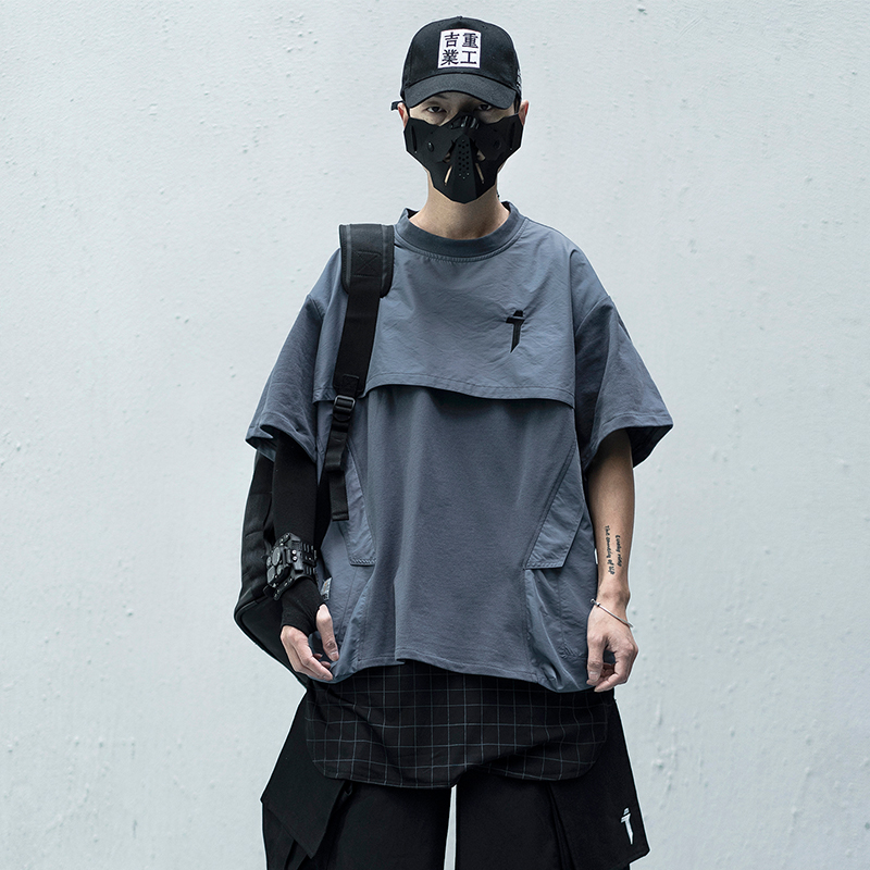 2020SS Men/Women Japanese Patchwork Streetwear T-Shirts Mens Hip Hop Casual Fake Two Pieces Short Sleeve Tops Tshirts