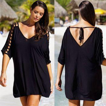 Женский купальник-бикини, черное пляжное платье размера плюс 3XL, летний сарафан