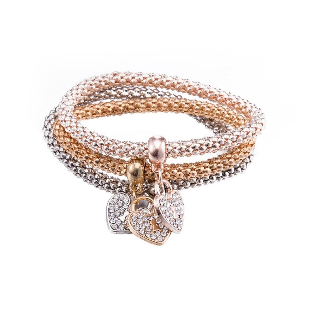 VC97 élégant coeur serrure 925 en argent Sterling zircone pierre Bracelet pour femmes bijoux de mariage