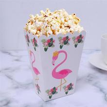 6 шт. коробка для попкорна Фламинго контейнер для полдника попкорн картонные коробки для конфет