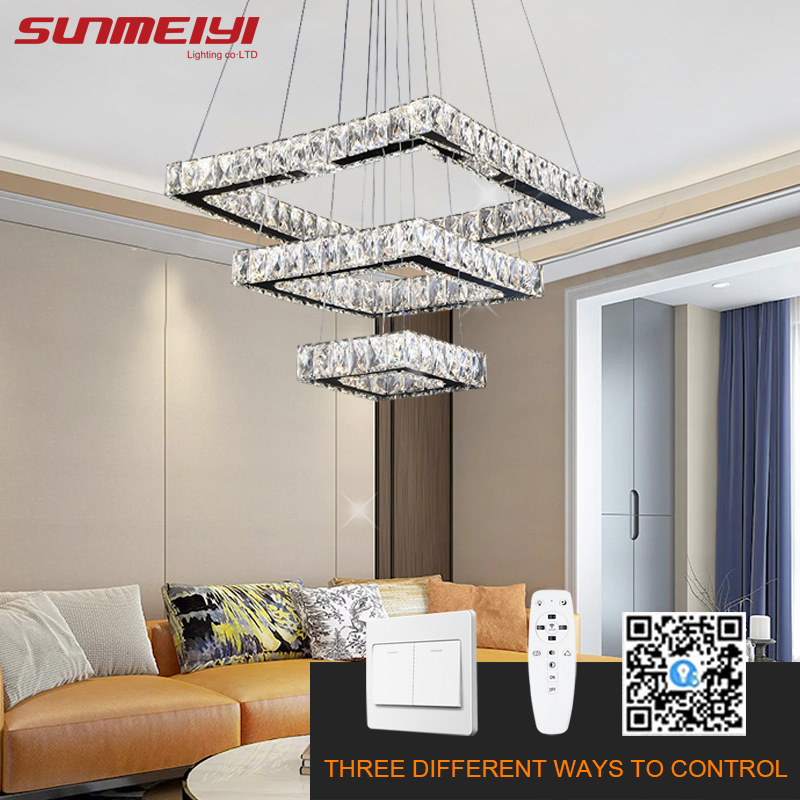 Modern LED Chandeliers Dimmable Crystal Chandelier Lighting For Living Room Dining Room Kitchen Rings Led Lampadario Cristallo