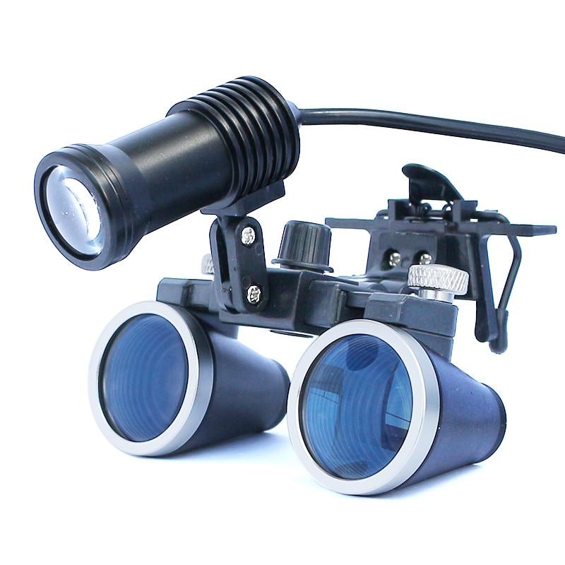 Iluminado Lupa Dental Binocular Lupa Cirurgia Dentista Lupa Lupa Cirúrgica com Farol LED Luz Operação Médica
