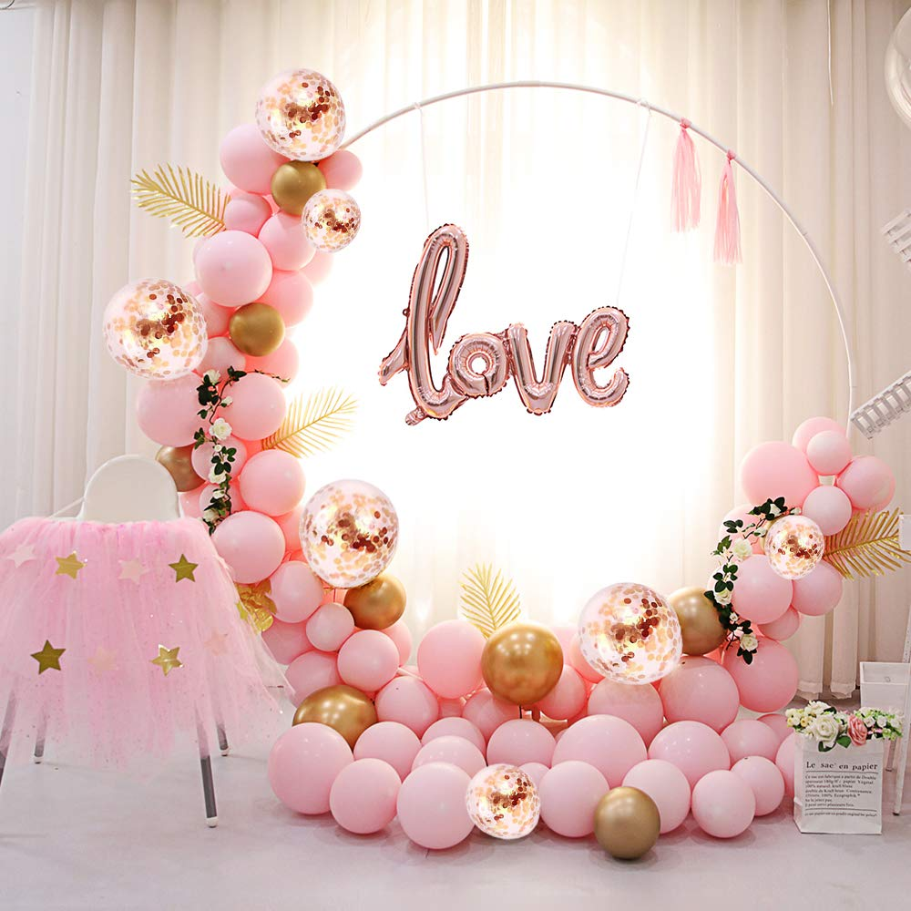 METABLE 100PCS Balloon Arch Kit with Rose Gold Pink Balloons Confetti and Metallic for Parties Baby Shower