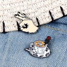 Творческий кофе брошка на лацканы булавки персонализированные рисунком жеста OK эмаль значок на булавке на сумочки и Шляпы шарф из джинсово...