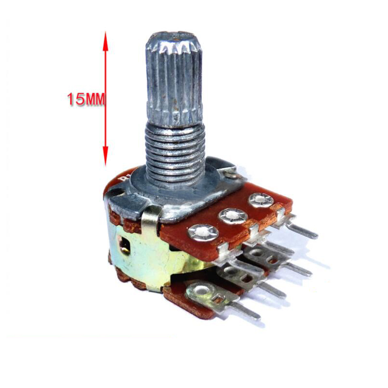 5pcs WH148 B1K B2K B5K B10K B20K B50K B100K B500K 6Pin 15mm Shaft Amplifier Dual Stereo Potentiometer 1K 2K 5K 10K 50K 100K 500K