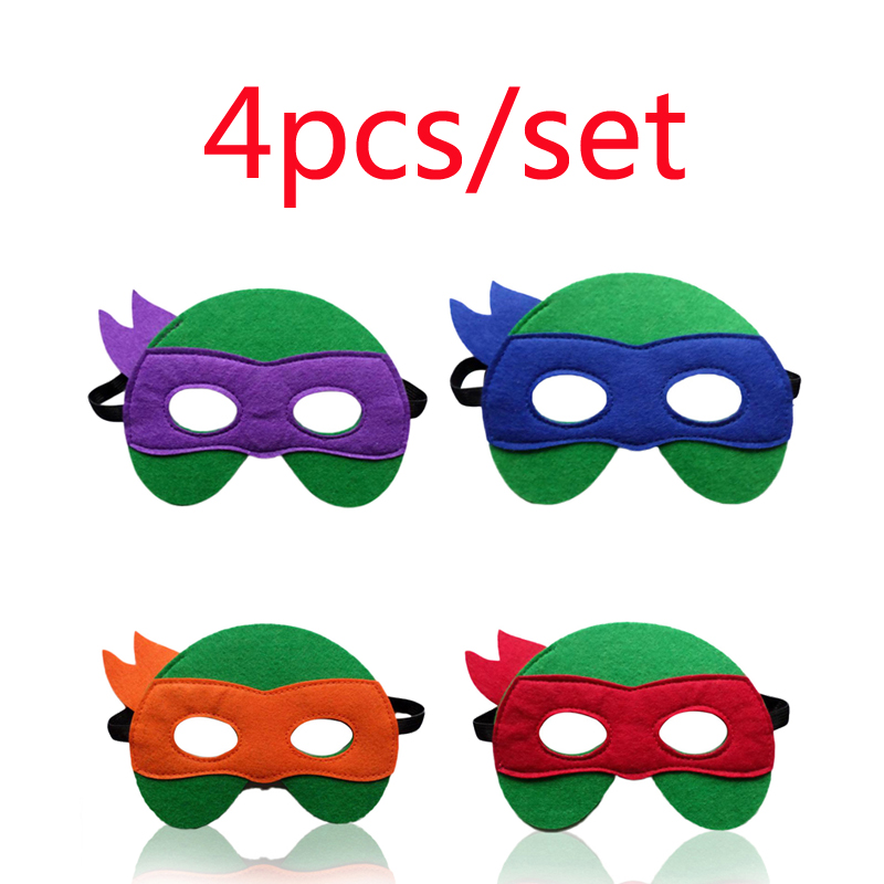 4pc/set Ninja Turtles Mask The Avengers Kids Happy Birthday Christmas Gift Toy For Children Cartoon Hats Cosplay Party Game Toys