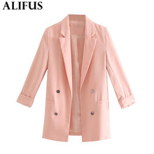 Fashion Za Women Blazer Pockets Casual 2019 Autumn Solid Color Double Breasted Long Sleeve Female Ladies Outerwear Loose Tops(China)