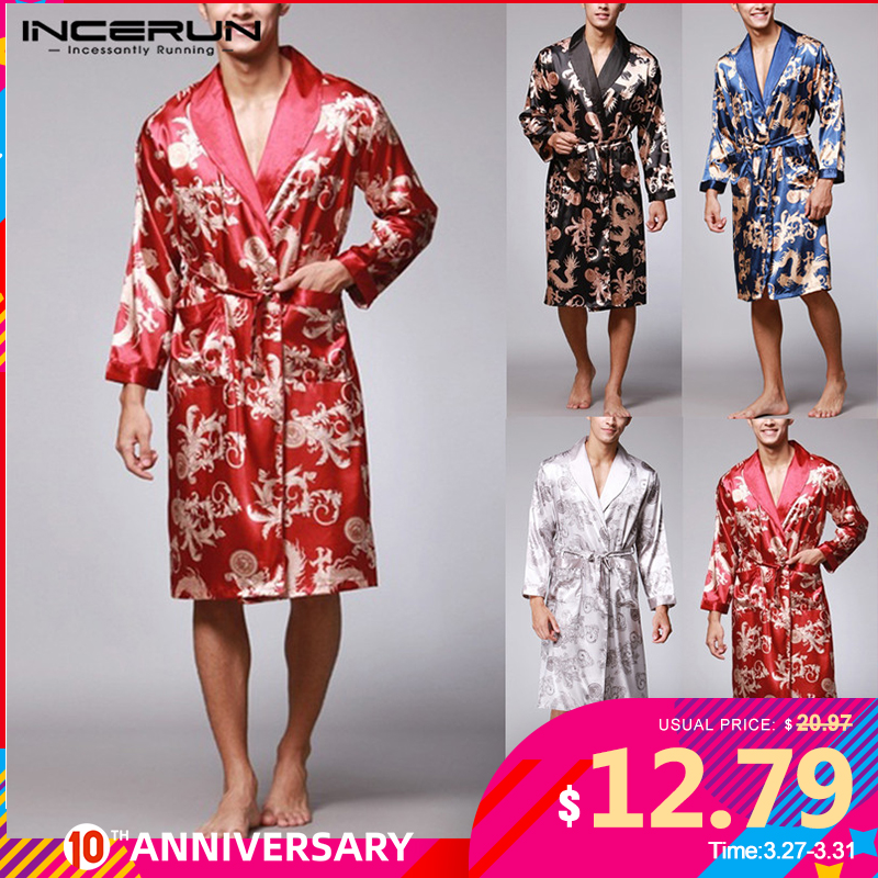INCERUN Fashion Satin Silk Pajamas Mens Robe Long Sleeves Bathrobe Lucky Chinese Dragon Print Gown Bathrobe Sleepwear Lounge