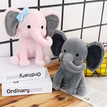 Elephant Plush Toys Baby Room Decorative Stuffed Dolls for Slepping 25cm Kawaii Animal Child Kids Plushiies Toy Pink Grey Doll(China)
