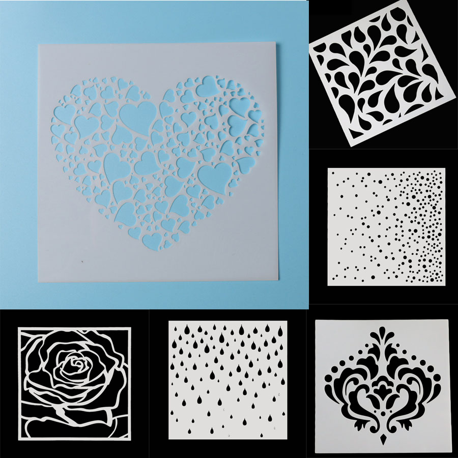 Multi-size Love Heart Walls Stencil Kids Painting Decor Stencils For Diy Scrapbooking Art Albums Diary Stamp Paper Cards Crafts