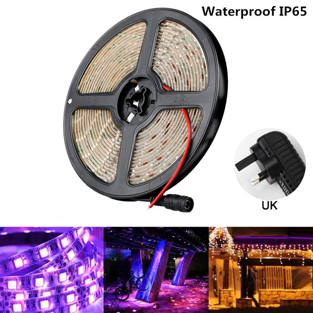 5M 300LEDs UV Strip Light 12V Waterproof LED Ultraviolet Sterilization Germicidal Bacterial DIY Strip Lights US/UK/EU/AU Plug