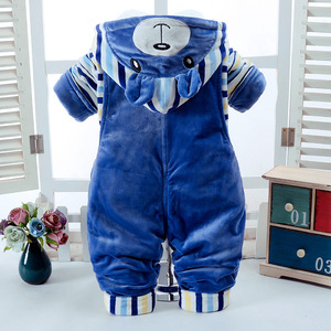 Image 2 - Winter Baby Set Boy Clothes for Newborn Thick Warm Baby Jumpsuit Overalls 2pcs Infant Clothing Sets Outfits Toddler Girl Clothes