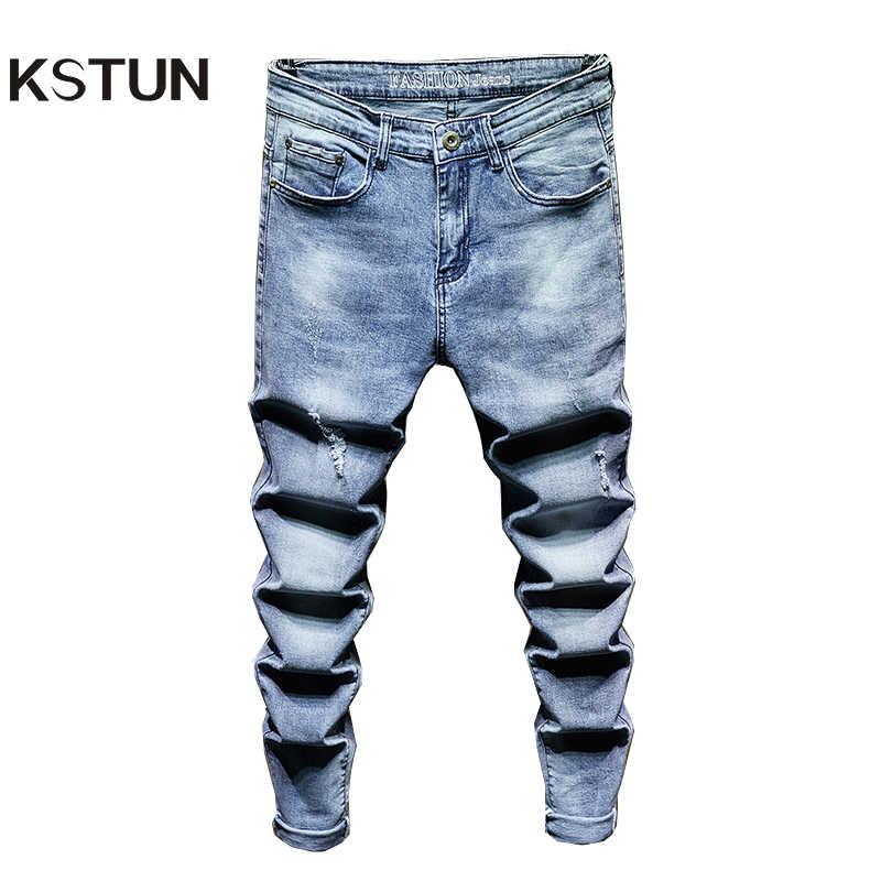 Pantalones Vaqueros Rasgados Para Hombres Jeans Rasgados A La Moda Ajustados Color Azul Claro Estilo Hip Hop Pantalones Vaqueros Aliexpress