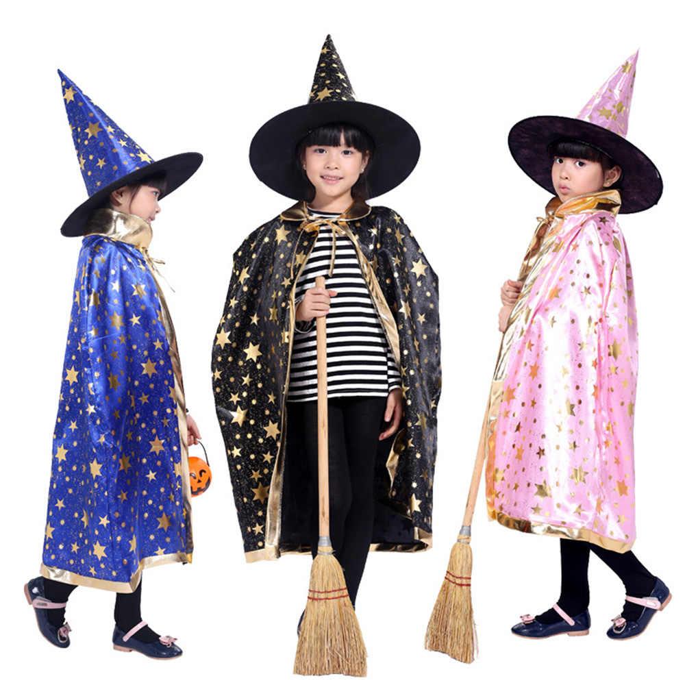 Halloween Cosplay Bintang Jubah Topi Set Kinerja Pakaian Penyihir Jubah Topi Anak-anak Anak-anak Gadis Anak Acara Kostum 2019 Baru
