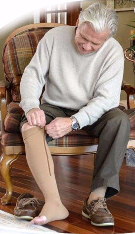 Zipper Compression Zip Shape Leg Support Knee Stockings Sox Open Toe S/M/XL Wholesale