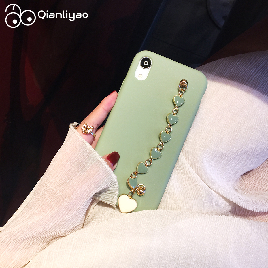Qianliyao Green Colour Cases with Heart Wrist Chain Holder Phone Case for iPhone X XS MAX XR 7 8 6 6s plus Soft TPU Back Cover