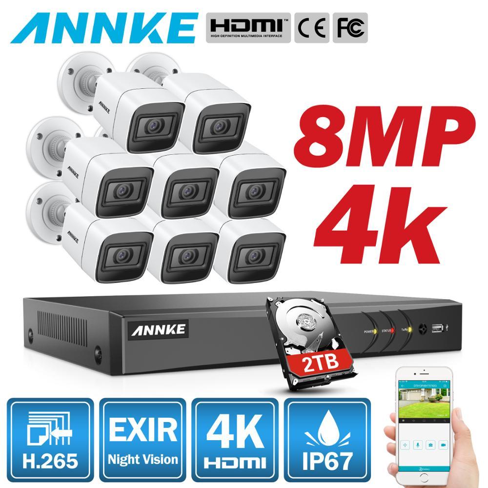 Annke 4 k 8ch ultra hd sistema de câmera cctv h.265 dvr kit 4 pces/8 pces 8mp tvi ao ar livre sistema de vigilância de segurança de vídeo em casa