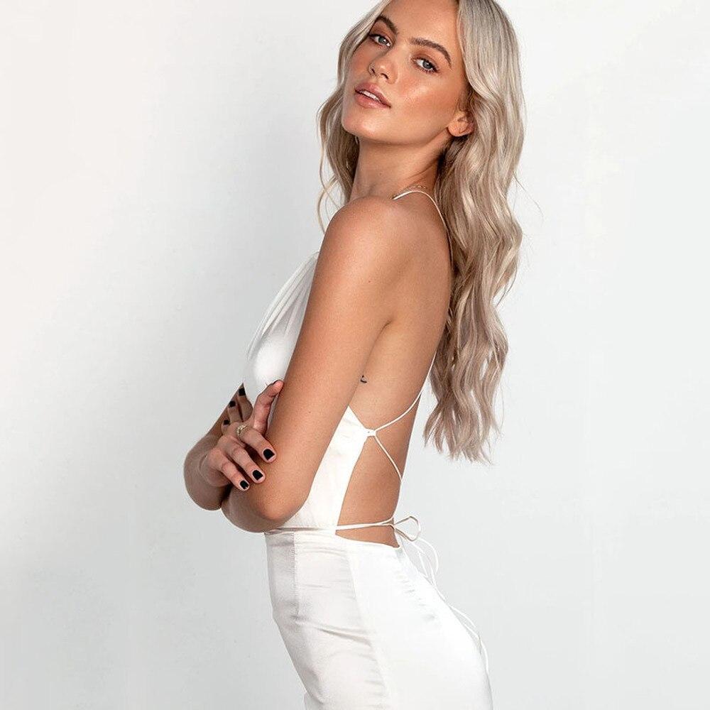Damska bez pleców seksowna sznurowana sukienka z rozcięciem moda satynowa Maxi satynowa sukienka czarno-biała jedwabna halka sukienka do klubu na imprezę lato 2020