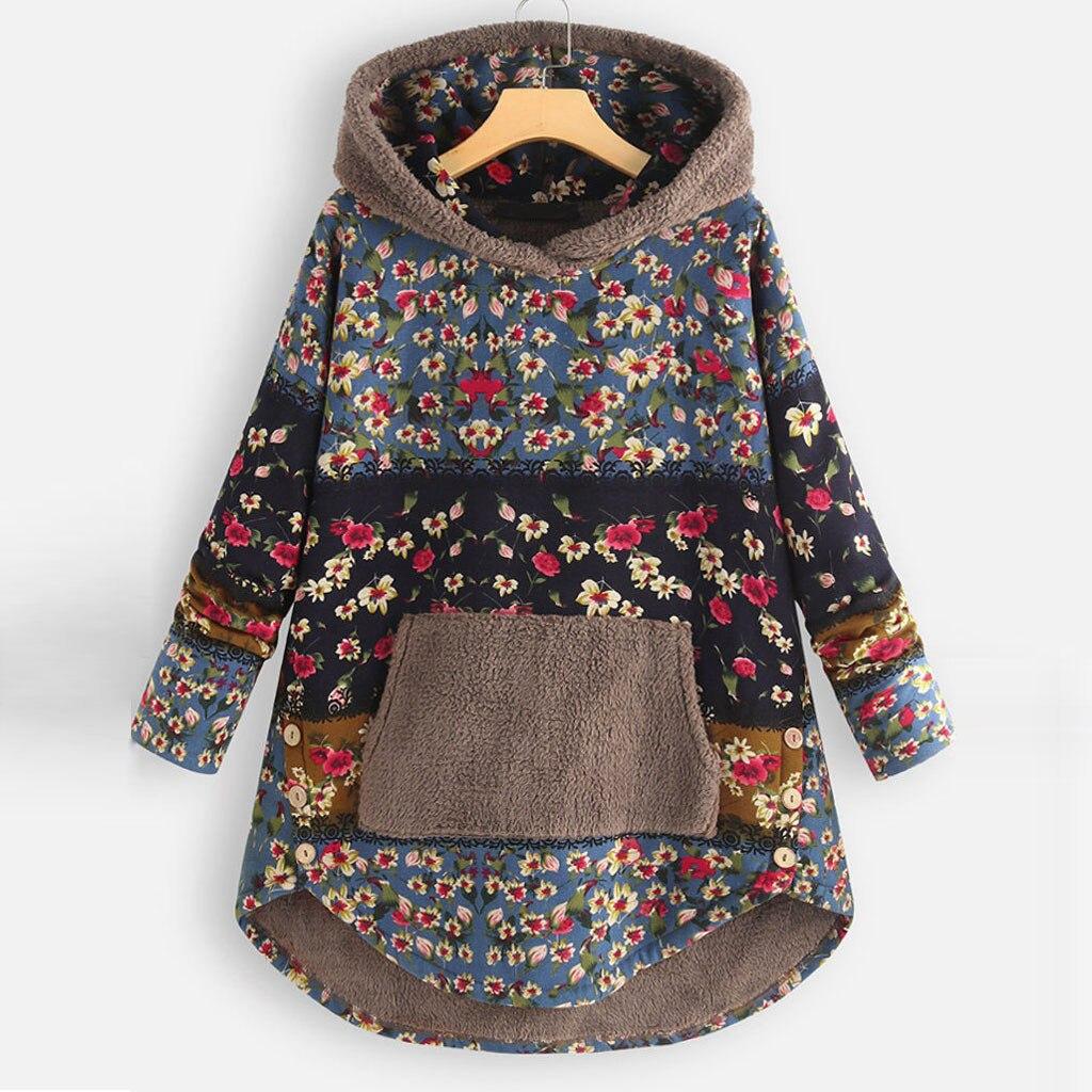 H3d8194c31d7d416b8a672dd6fffbfd240 Female Jacket Plush Coat Womens Windbreaker Winter Warm Outwear Retro Print Hooded Pockets Vintage Oversize Coats Plus Size 5XL