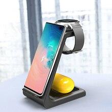 צ י אלחוטי עמדת תשלום 10W תשלום מהיר 3 ב 1 אלחוטי מטען עבור Iphone 11 פרו מטען Dock עבור אפל שעון 5 4 Airpods פרו