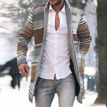 New Men Casual Long Jacket Printed Cardigan Top Overcoat 2020 Winter Warm Outwear Striped Fashion Coat Parkas Male Clothes