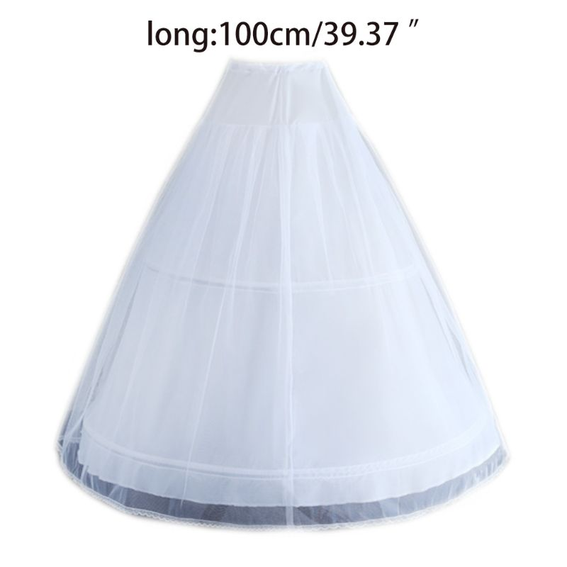 Women White Wedding Petticoat 2 Hoop Double Layer Bridal Crinolines With Tulle Netting Underskirt Half Slips For Ball Gown Dress
