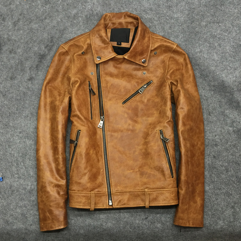 Classic New Oil Wax Cow Clothing Mens 100% Genuine Leather Vintage Jackets Coke Yellow Slim Jacket