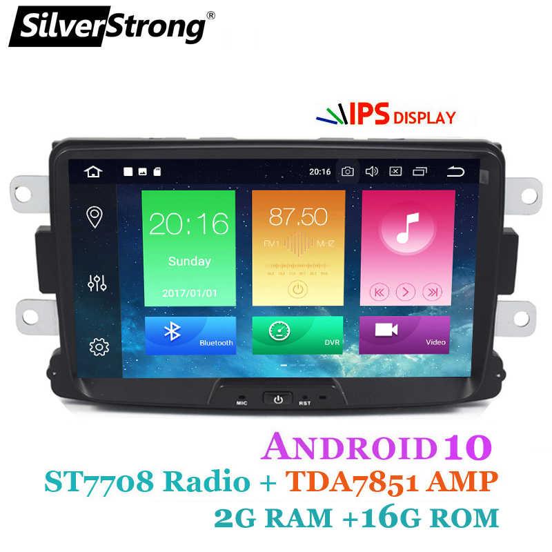 SilverStrong 32GB 8 inç Android10 dört çekirdekli araba radyo GPS 1Din için Renault LOGAN II silgi DACIA DOKKER Dacia DSP kamera