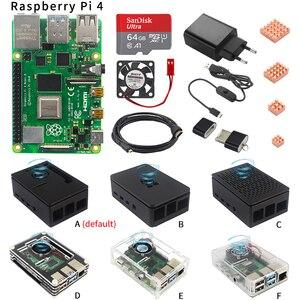 Официальный Raspberry Pi 4B комплект 2G/4G/8G RAM плата + sd-карта + радиатор + чехол + охлаждающий вентилятор + кабель HDMI + источник питания для Pi 4B