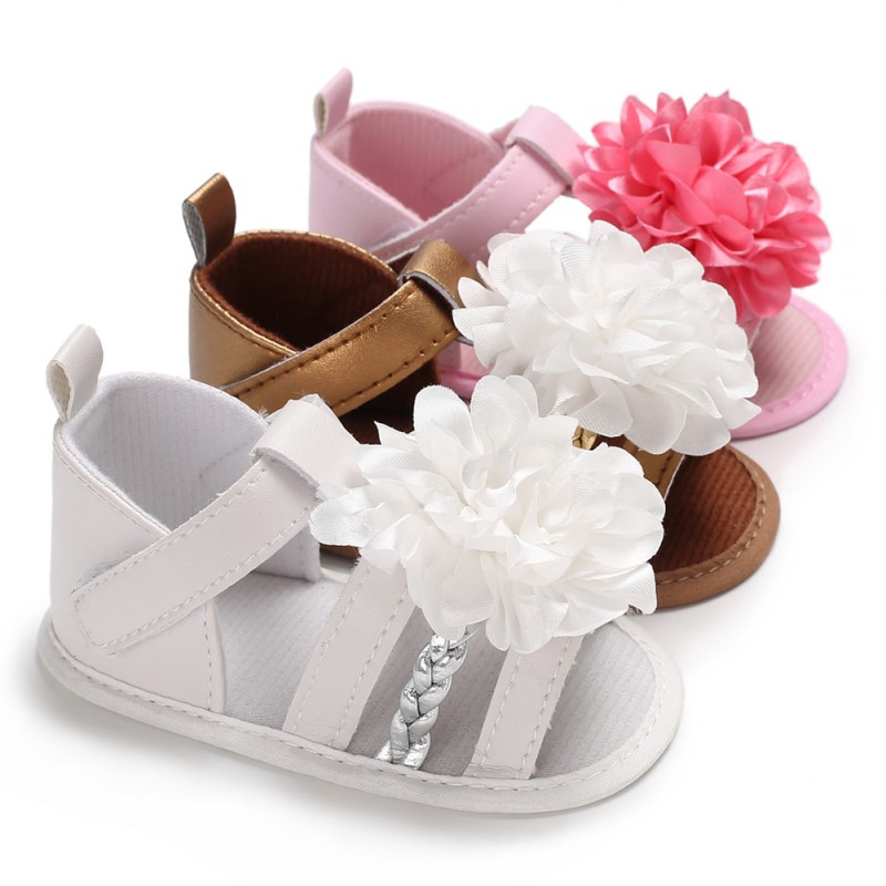 Baby Girls Sandals Sweet Summer Princess Shoes Big Flower Crib Infant Toddler Soft Soled Shoes 0-18 Month Kids Sandals