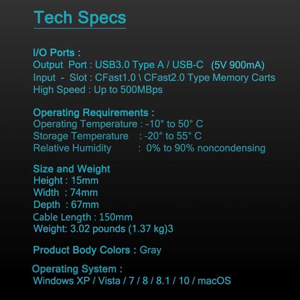 CFast 2.0 قارئ بطاقات SD XQD محول المحمولة المهنية CFast قارئ بطاقات الذاكرة لفيلم بث التصوير الفوتوغرافي المستخدمين جديد