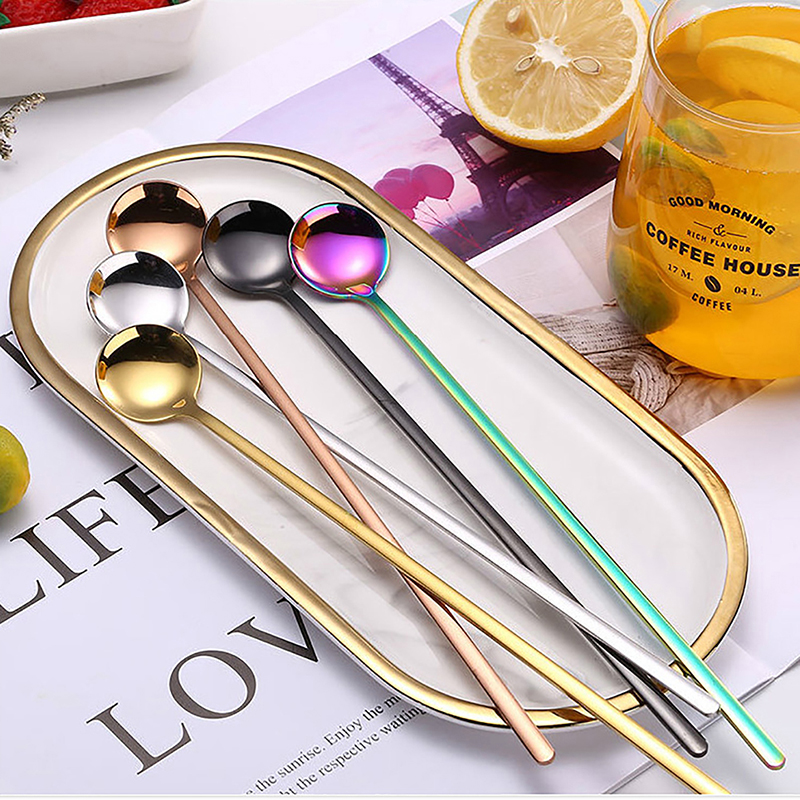 1Pcs New Colorful Coffee Spoon 24cm Long Handled Stainless Steel Ice Cream Dessert Tea Spoon Dinnerware Flatware Kitchen Tools