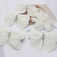 1 шт. белые жемчужные банты для волос с заколки для девочек детские слойные блестящие стразы центр банты заколки для волос аксессуары для волос