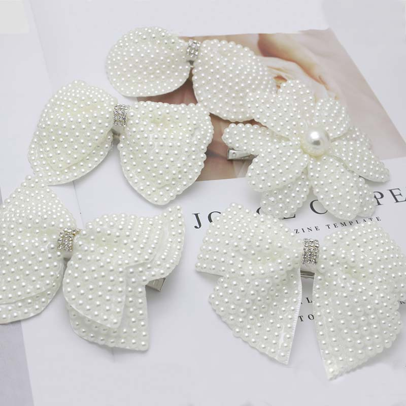 1PC White Pearl Hair Bows With Hair Clips For Girls Kids Layers Bling Rhinestones Center Bows Hairpins Hair Accessories