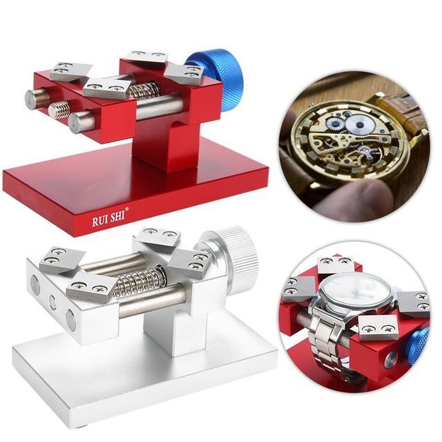 Professionele Horloge Bezel Opener Removal Tools Werkbank Case Opener Tool Horloge Onderdelen Repair Tool Voor Horlogemaker Rood/Zilver
