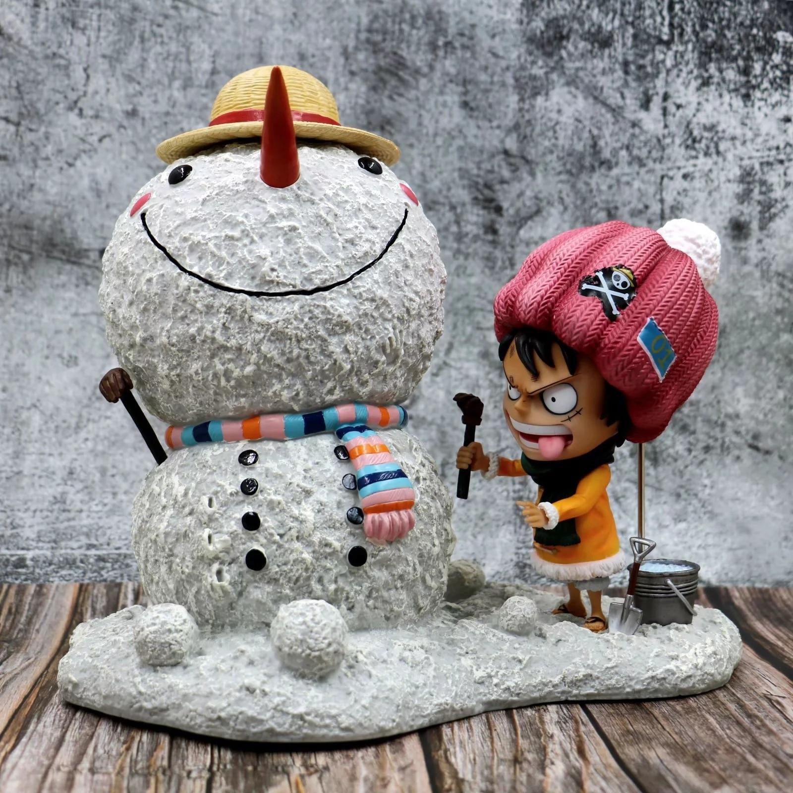 Anime Figuur 28cm Een Stuk De straw hat Pirates Sneeuw Aap D Luffy sneeuwpop showhand PVC Action Figure Speelgoed collectible Model