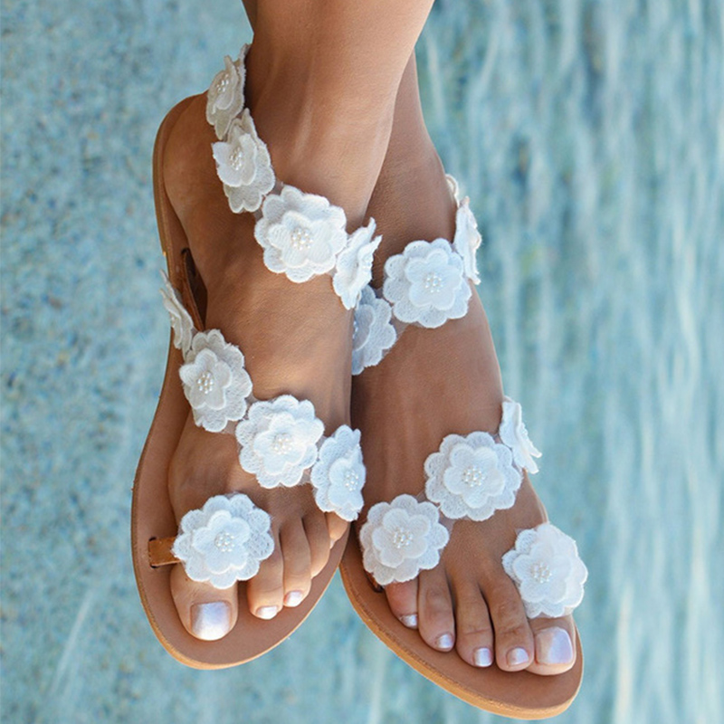 Woman Slippers Appliques Ladies Flip Flops Female Pearl Slides Women New Beach Shoes Women's Footwear Plus Size 2020 Fashion