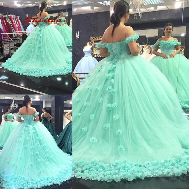 puffy mint green 15 dresses