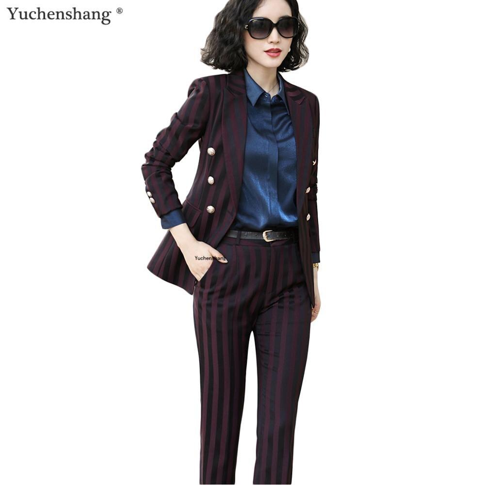 새로운 도착 여성 바지 정장 큰 크기 5xl 패션 스트라이프 정장 재킷과 바지 2 조각 세트 바지 정장-에서바지 슈트부터 여성 의류 의  그룹 1