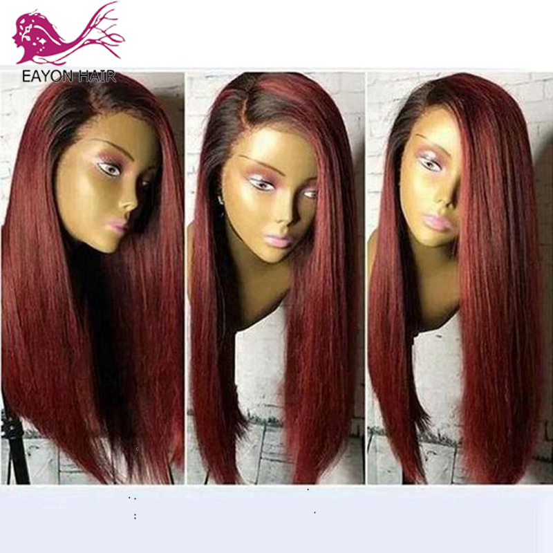 EAYON 1B/Burgundy Ombre Short Human Hair Wigs Pre Plucked Silky Straight Blonde Lace Front Bob Wig Deep Part 13x6 Brazilian Remy