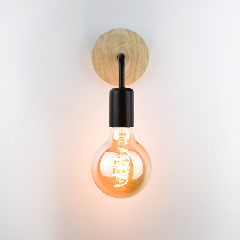 Wood Wall Lamp Vintage Industrial Wall Lights Dimmable Retro E27 Light Bulb Wall Light For Home Loft Indoor Decor Fixtures 3