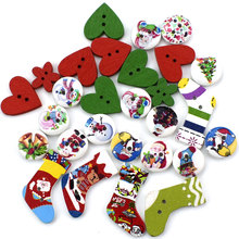 100PCS Mixed Colourful Cute Wood Button for Sewing Scrapbook Decoration Handmade DIY Crafts Children's Manual Wooden Buttons