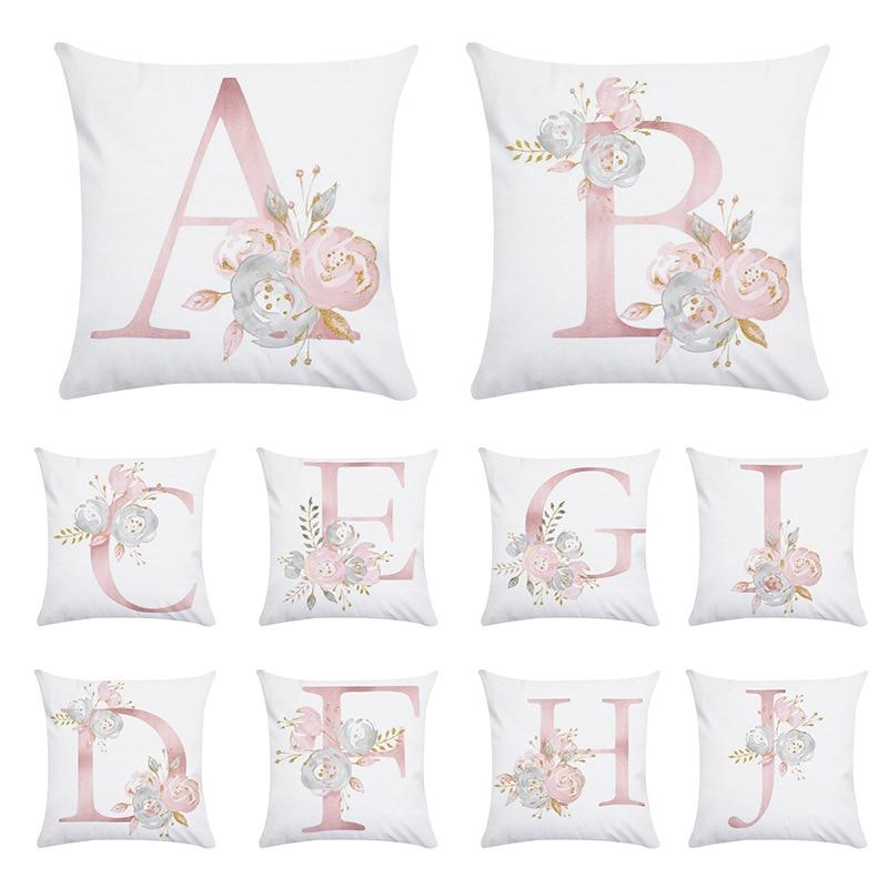 Pink Letter Decorative Pillow Cushion Cover Pillowcase Sofa Polyester Pillowcase Cushion Cover Home Decoration