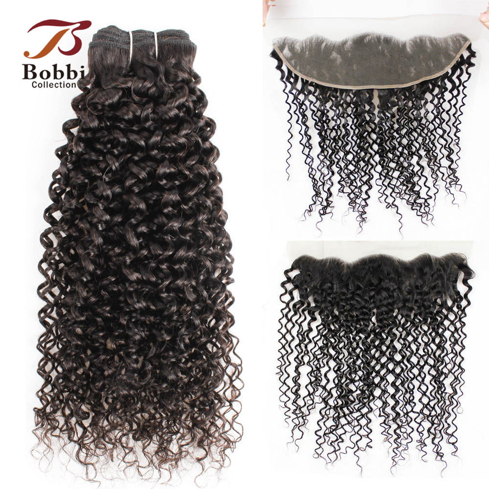 BOBBI COLLECTION 2/3 Bundles With Frontal 4x13 Ear To Ear Lace Frontal Brazilian Hair Jerry Curly Non-Remy Human Hair Weave