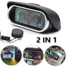 Автомобильный цифровой горизонтальный измеритель температуры воды, вольтметр с ЖК дисплеем, 2 в 1, 12 В/24 В, с датчиком температуры