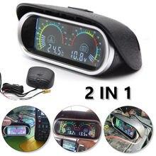 2 w 1 12v/24v LCD samochodów cyfrowy poziomy wskaźnik wskaźnik temperatury wody miernik woltomierz wskaźniki napięcia z czujnikiem temperatury