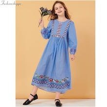 Clothing Muslim Cotton Maxi-Dress Flower Long-Sleeve Embroidered Girls Blue Sweet Child