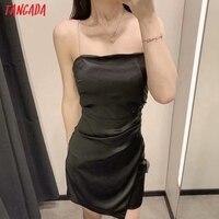 Tangada Women Black Party Dress Beading Sleeveless Backless 2021 Fashion Lady Dresses Robe 3H129 2