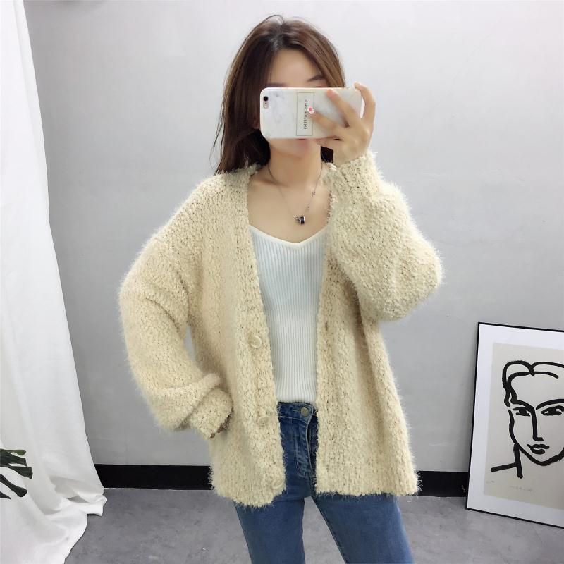 fall long sleeve cardigan women new v neck plus size pink high quality fuzzy sweater open breast knitted sweater woman clothes in Cardigans from Women 39 s Clothing