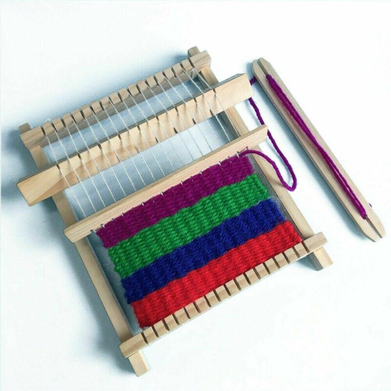 Marca crianças diy tear brinquedo mão-tricô tear de madeira brinquedos crianças tecelagem máquina de brinquedo educativo das crianças brinquedo tecido educacional